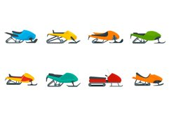 Snowmobile icon set, flat style Product Image 1