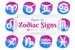Zodiac signs clipart Horoscope symbols Watercolor Astrology Product Image 1
