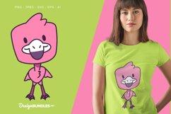 Smiling Flamingo Vector Illustration For T-Shirt Design Product Image 1