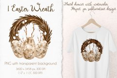 Watercolor Easter Wreath. Spring Sublimation PNG Design Product Image 2