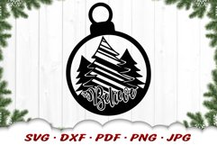 Believe Christmas Tree Ornament SVG DXF Cut Files Product Image 3