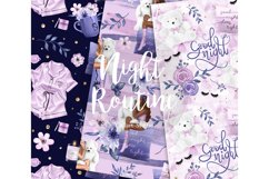Bedtime digital paper, nightime routine, girly papers Product Image 2