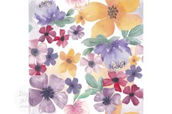 Watercolor flowers seamless pattern Colorful flowers clipart Product Image 1