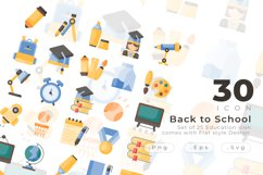 Set of 30 Education icon come with flat design Product Image 1