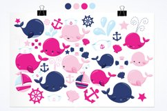 Nautical Whales graphics and illustrations Product Image 2