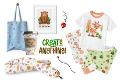 Watercolor Forest Animal Pattern Set Product Image 6