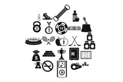 Sports nutrition icons set, simple style Product Image 1