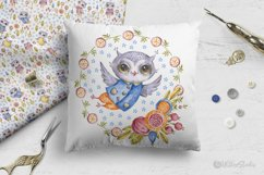 Cute owls clipart. Watercolor collection with floral forest Product Image 13