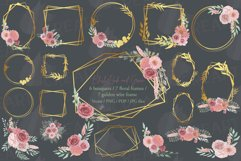 Watercolour blush flowers & green leaves bridal templates. Product Image 2