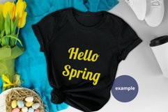 Black T-shirt Spring Mockup PSD Eggs & Clothes Background Product Image 3