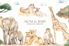 Mom and baby animals Watercolor Product Image 1