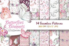 Butterfly Scrapbook Paper, Floral Designer Paper Seamless Product Image 1
