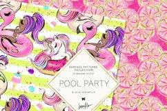Summer Patterns, Unicorn Flamingo Digital Paper Product Image 5