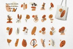 Boho Clipart with Plants and Abstract Shapes, Florals Product Image 3