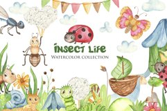 Insects Watercolor Clipart. Cards and seamless patterns Product Image 1