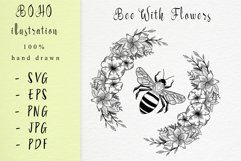 Boho illustration / bee with flowers Product Image 1