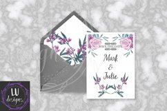 Burgundy and Pink Flowers Clipart, Floral Wedding Bouquets Product Image 5