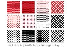Red Polka Dot Patterns - Red & Black Polka Dot Backgrounds Product Image 2
