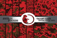 Red gray and brown camo digital paper pack, Instant download Product Image 1