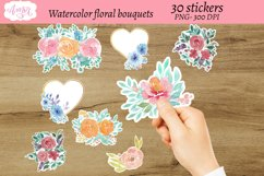 Watercolor floral bouquets stickers, print then cut sticker Product Image 3
