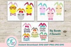 Bunny Ears eggs face bundle svg dxf toddler oneness cut file Product Image 1