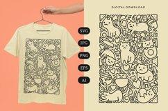 Cat Doodle T-shirt   SVG Product Image 1