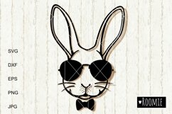 Rabbit face in sunglasses svg, Easter bunny Cut files Cricut Product Image 2