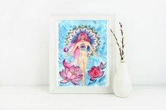 girl and lotuses, mandala, goddess of love,Digital print Product Image 2