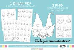 Christmas gnome digital stamp, Christmas coloring sheet Product Image 3