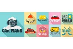 Car wash logo set, flat style Product Image 1