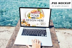 PSD Web Mockup - Laptop at the Beach | Digital Nomad Product Image 1