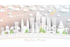 Ho Chi Minh Vietnam City Skyline in Paper Cut Style Product Image 1
