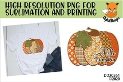 Patchwork Hello Pumpkin Fall Sublimation Design Product Image 1