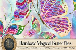 30 Rainbow Glitter Sequin Watercolor Butterfly Clip Arts PNG Product Image 1