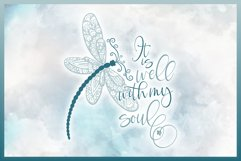 It Is Well With My Soul Quote with Dragonfly Mandala SVG Product Image 2