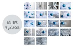 Blue ball on a silver and white Christmas tree Photo Set Product Image 6