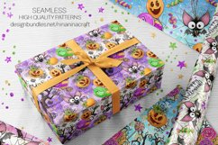 Cute Halloween Seamless Patterns, Bats Digital Papers Pack Product Image 9
