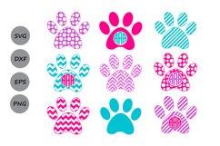 Paw Print SVG, Print Monogram, Dog Paw SVG, Die Cuts. Product Image 1