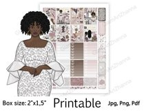 """African American Mom Boss Printable Sticker Box Size 2""""x1,5"""" Product Image 5"""