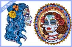 Sugar Skull SVG Collection   Calavera Ladies SVG Product Image 5