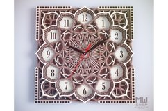 C09 - Wall Clock for Laser cut, Mandala Clock DXF pattern Product Image 2