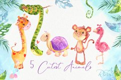 Cute safari animals watercolor clipart pack Africa animals Product Image 3