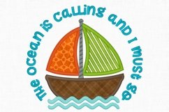 The Ocean is Calling Sailboat Applique Design 1273 Product Image 2