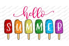 Hello Summer - Popsicles - Popsicle - Sign Shirt Tote SVG Product Image 4