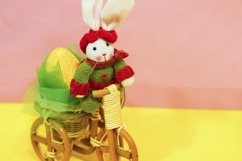 Colored easter eggs in the basket, easter rabbit Product Image 1