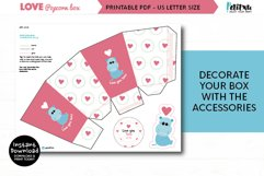 Valentines printable popcorn box, love DIY party decorations Product Image 3