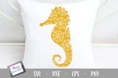 Seahorse SVG - Seahorse with floral mandala pattern Product Image 1