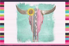 Serape Steer Skull Sublimation Digital Download Product Image 1