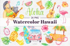 Watercolor Hawaii Clipart, Summer Island Beach, Aloha, PNG Product Image 1