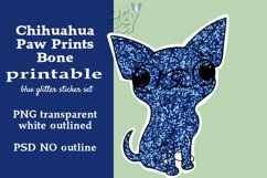 Chihuahua Blue Glitter Printable Sticker SET Product Image 3
